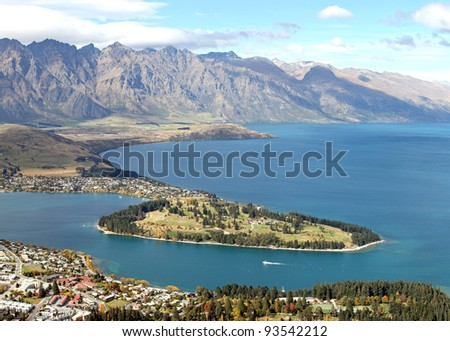 Queenstown with Alpine Alps Snow Mountain Landscape and Lake Wakatipu New Zealand