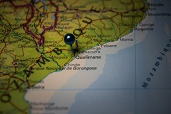Quelimane city in Mozambique pinned on geographical map