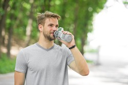 quench your thirst. man feel thirst. man drink water because of thirst. thirst feeling of man after workout