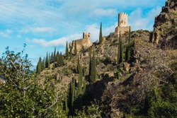 Quertinheux and Surdespine towers at Lastours in France