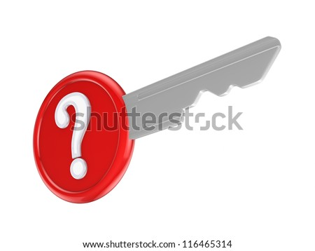 Query mark on a key.Isolated on white background.3d rendered. - stock photo