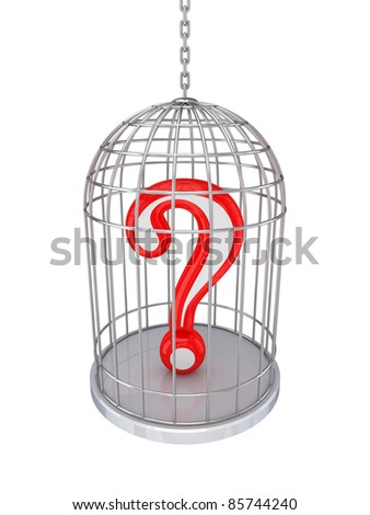 Query sign in a birdcage.Isolated on white background.