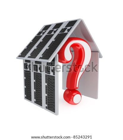 Query sign under a roof made of PC keyboards.3d rendered.Isolated on white background.