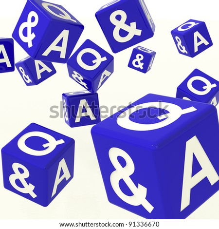 Question and Answer Blue Dice As Symbol For Information