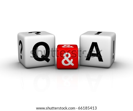 Question and Answers cubes symbol - stock photo