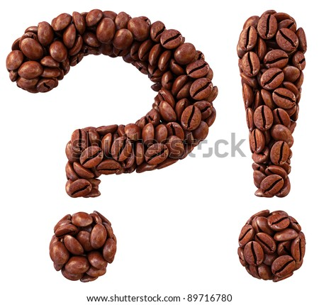 question and exclamation marks from coffee beans. isolated on white.