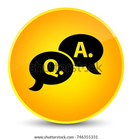 Question answer bubble icon isolated on elegant yellow round button abstract illustration