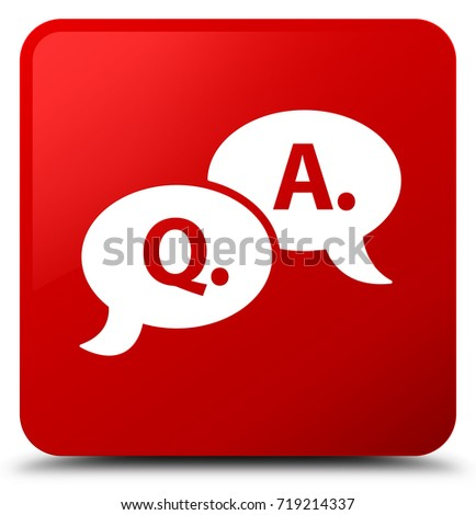 Question answer bubble icon isolated on red square button abstract illustration