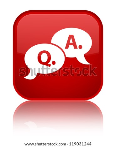 Question answer icon glossy red reflected square button
