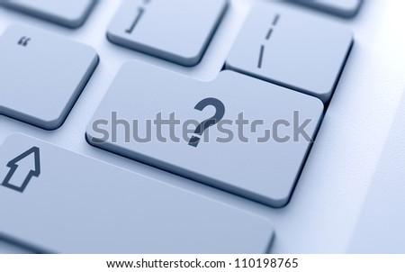 Question button on keyboard with soft focus