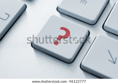 Question button on the keyboard. Toned Image.