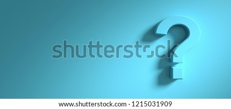 Question concept. Question mark on blue wall background, banner, copy space. 3d illustration