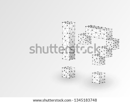 Question, exclamation marks abstract origami 3d illustration. Polygonal Raster business concept of faq, idea, answer. Low poly wireframe, geometry triangle, lines, dots, polygons on white background