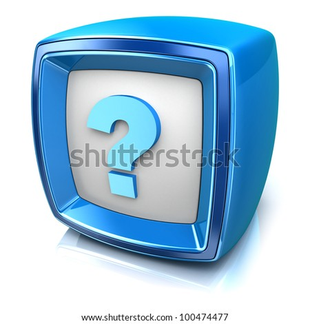 Question icon on blue badge on white background. 3d render