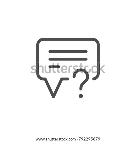 Question line icon isolated on white. Vector illustration