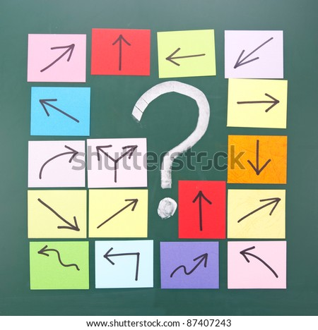 Question mark and colorful paper with different direction.