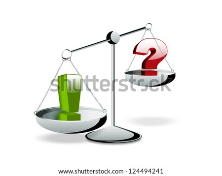 question mark and exclamation point on the scale - stock photo