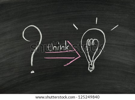 question mark and light bulb on blackboard