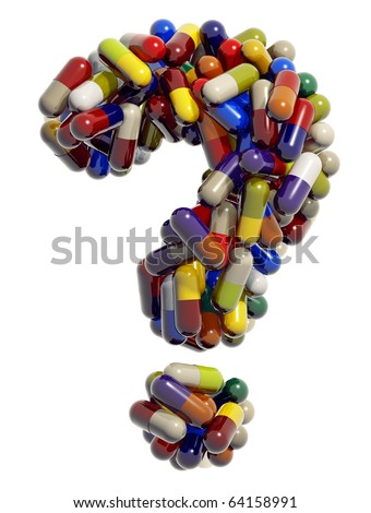 Question mark created of medical pills, 3d