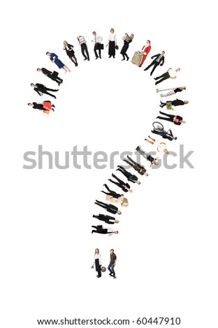 Question Mark Formed by Humans isolated on white Background