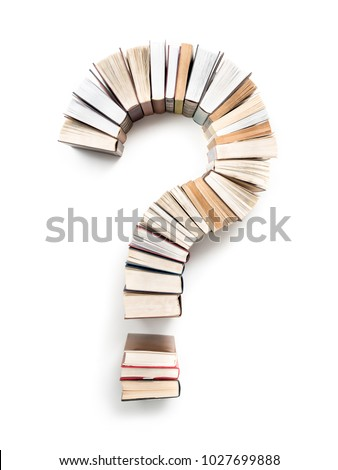 Question Mark formed from books, shot from above on white background Foto stock ©