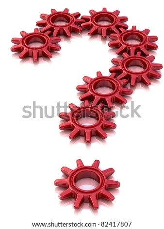 Question mark from red abstract gears