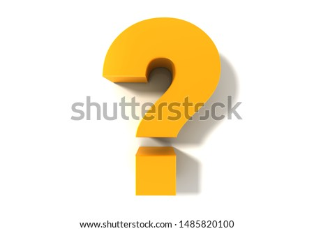 question mark gold query interrogation point 3d rendering asking sign isolated on white Foto stock ©