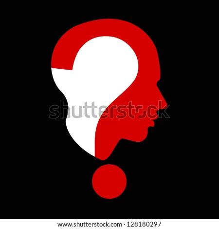 question mark human head symbol