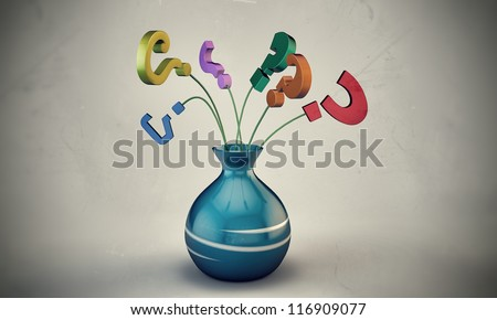 question mark in a vase isolated on white background