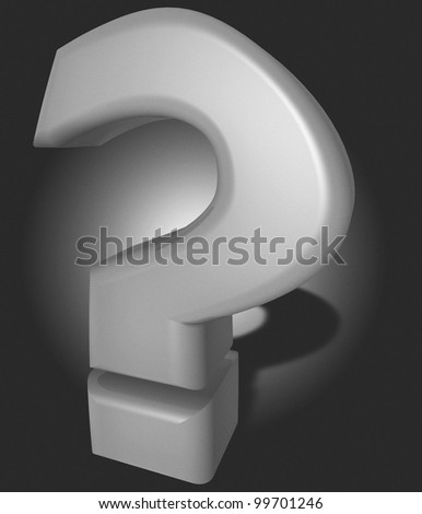 Question mark in 3D, letter symbol for information, thought and confusion.
