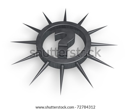 question mark in ring with prickles - 3d illustration