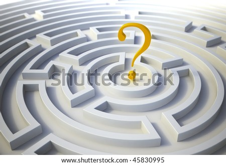 Question mark inside a maze