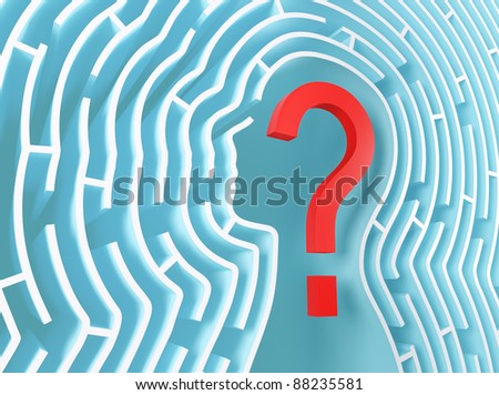 Question mark inside a maze in the shape of human head. - stock photo