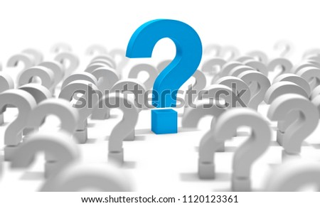 Question mark isolated over white background.Concept of doubts and questions.Question mark.3d illustration