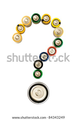 Question mark made from batteries isolated on the white background