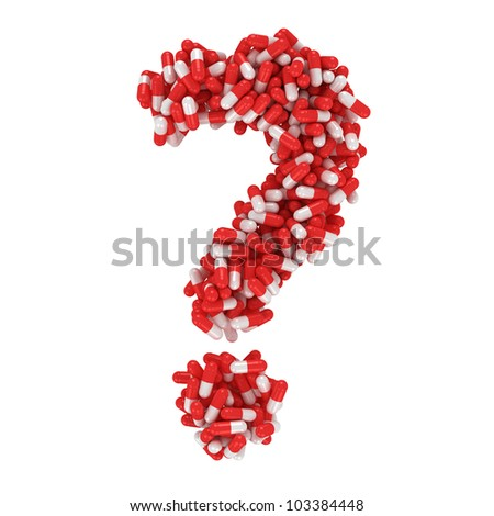 Question mark made from red and white capsules