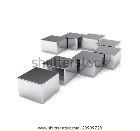 Question mark made of iron cubes isolated on white