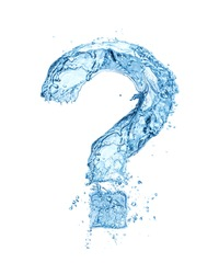question mark made of water splash isolated on white background