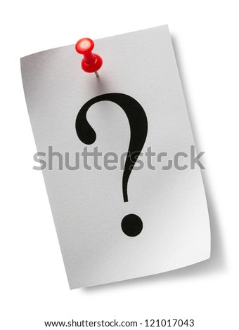 Question mark on a piece of paper and a red pushpin