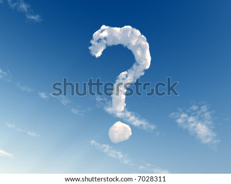 question mark on blue sky - 3d illustration