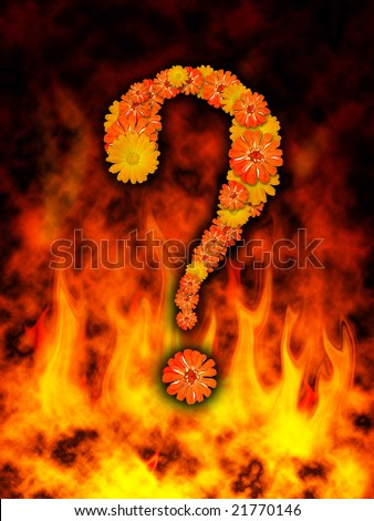 Question mark on fire flame stock photo