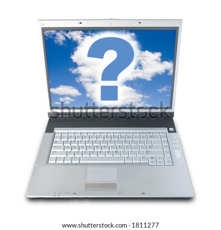 Question Mark On Laptop's Screen (clipping path included)