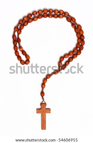 Question mark outline made with wooden rosary on white background