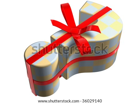question mark packaged as a  pink gift surprise on a white base