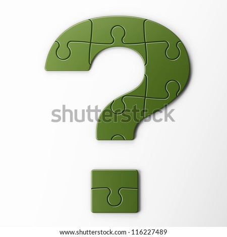 question mark puzzle with clipping path