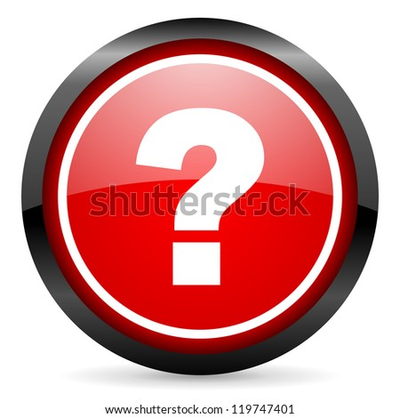 question mark round red glossy icon on white background