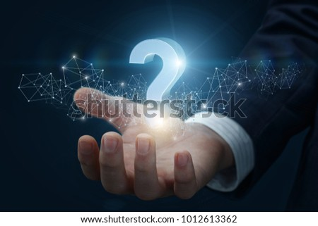 Question mark shows the hand. The concept answers to the questions.