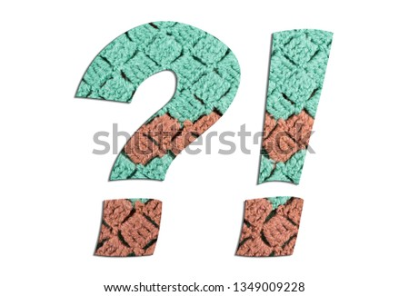 Question mark sign and Exclamation mark sign symbols with hand knitted texture on white background #1349009228