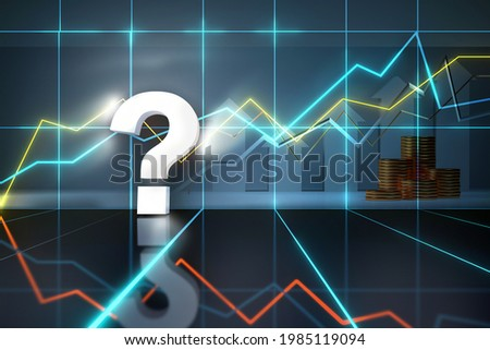 Question mark sign. Idea analytics trend prognosis or stock prediction problem concept. neon light question mark in virtual market stock space 3d render Foto stock ©
