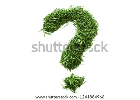 question mark, signs and symbols are made of green grass isolated on white background #1241884966